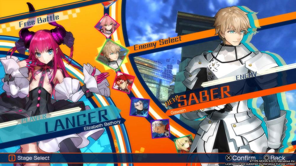 Screenshot of Free Battle mode in Fate/Extella.
