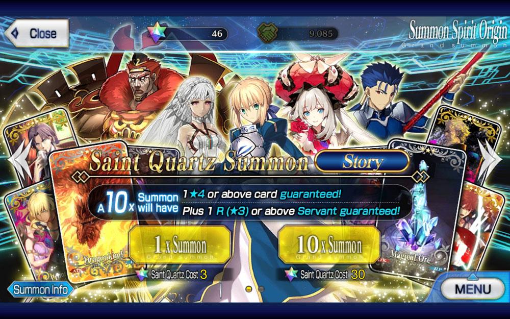 Screenshot of the Summon menu in Fate/Grand Order